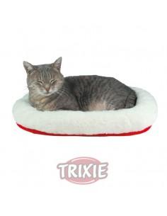 Cuna para gatode felpa, reversible, color rojo y borreguillo