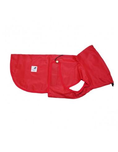 Impermeables para perros modelo Tortuga con cuello color Rojo