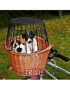 Transportín delantero para llevar perro en bicicleta, en mimbre natural