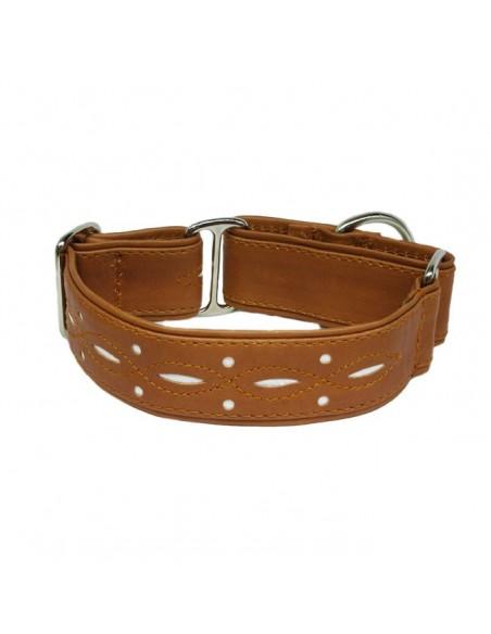 Collar para galgo en piel marrón calado extrasuave