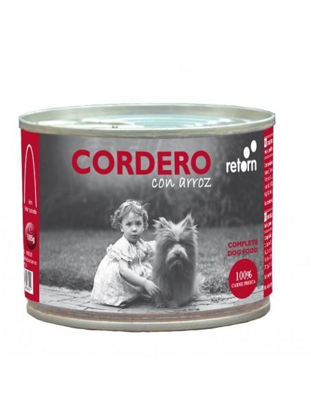 Lata comida perro a base de cordero con arroz