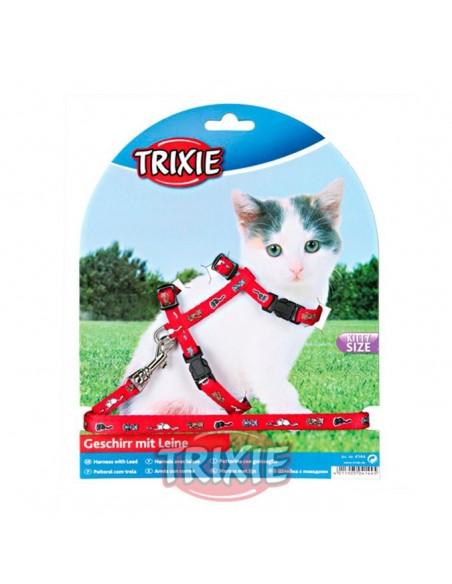 Arnés y correa para gato cachorro rojo con dibujos