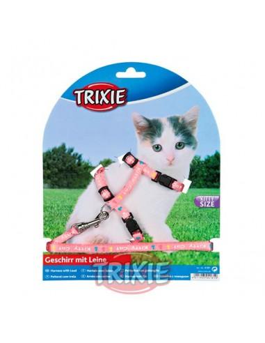 Arnés y correa para gato cachorro rosa con dibujos Kitty