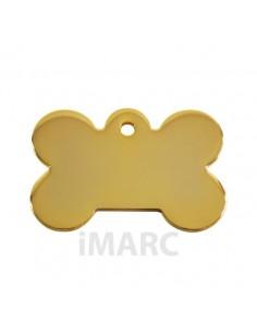 Placa identificativa para perro, hueso bañado en oro