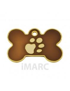 Placa identificativa para perro, hueso con huella grabada