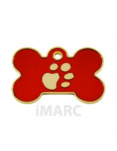 placa identificativa grabada perro hueso-roja-oro