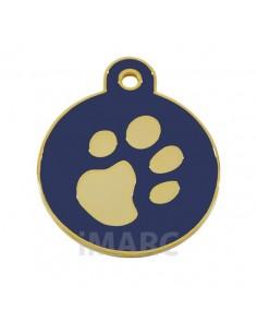 placa identificativa grabada perro redonda azul oro