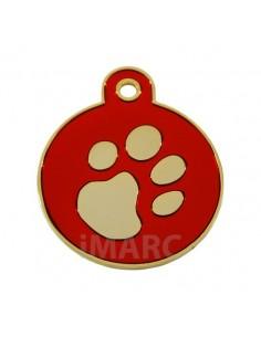 Placa identificativa para perro, redonda con huella grabada pequeña