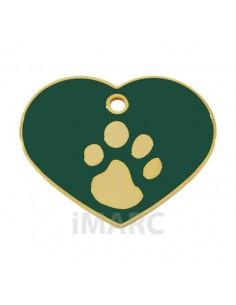Placa identificativa para perro, corazón con huella grabada
