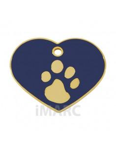 placa identificativa grabada perro corazon azul oro