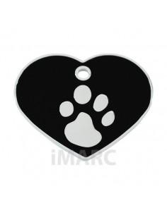 Placa identificativa para perro, corazón con huella grabada pequeña