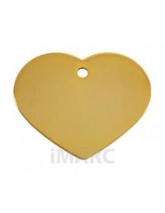 Placa identificativa para perro, corazón bañada en oro