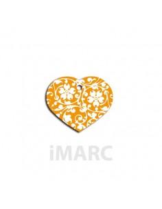 placa identificativa grabada perro corazon naranja-flores