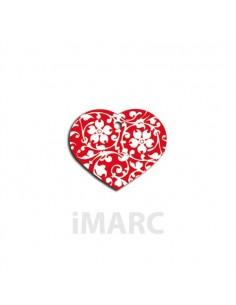 placa identificativa grabada perro corazon roja flores