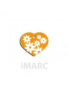 placa identificativa grabada perro corazon amarilla margaritas