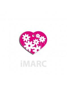 placa identificativa grabada perro corazon rosa margaritas