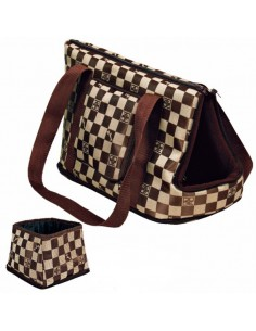 Bolso para transporte de gatos en nylon marron modelo Chess