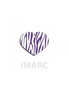 placa identificativa perro  corazon cebra lila
