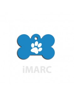 placa identificativa perro hueso huella azul