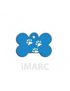 Placa identificativa para perro, hueso pequeño decorado tres huellas