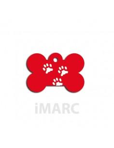 placa identificativa perro hueso 3 huella roja