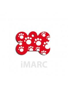 Placa identificativa para perro, hueso decorado con huellas