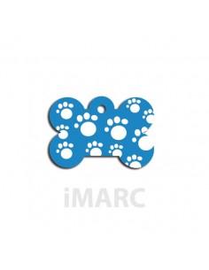 Placa identificativa para perro, hueso pequeño decorado con huellas