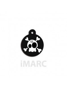 Placa identificativa para perro, redonda decorado calavera tiritas