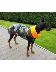 Abrigo impermeable acolchado de camuflaje para perro