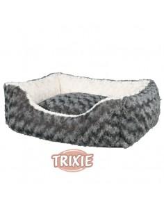 Cama para perro cuadrada, realizada en borreguilllo color gris y crema