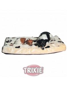 cama para perro beige huellas