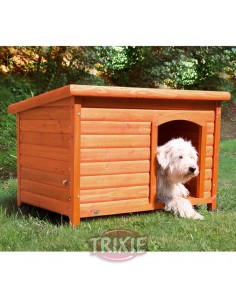 Caseta para perro en madera de pino, color natural, de techo plano