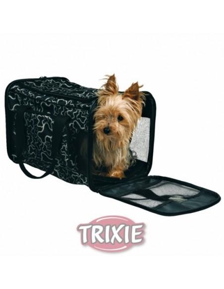 Bolso para transporte de perros nylon negro con dibujos