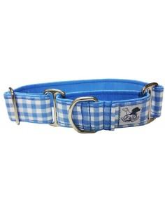 collar galgo martingale cuadros azul y blanco