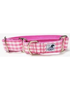 Collar para whippet o podenco en tela loneta muy resistente cuadros rosa y blancos