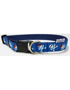 Collares para perro loneta azul con motivos piratas