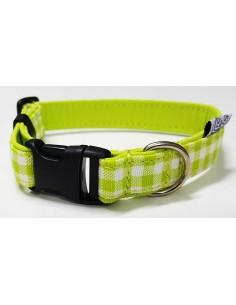 Collares para perro loneta cuadros verdes blanco