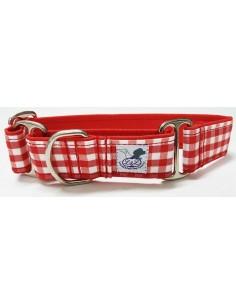 collar perro grande martingale cuadros rojo blancos