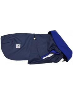 abrigo azul impermeable perro