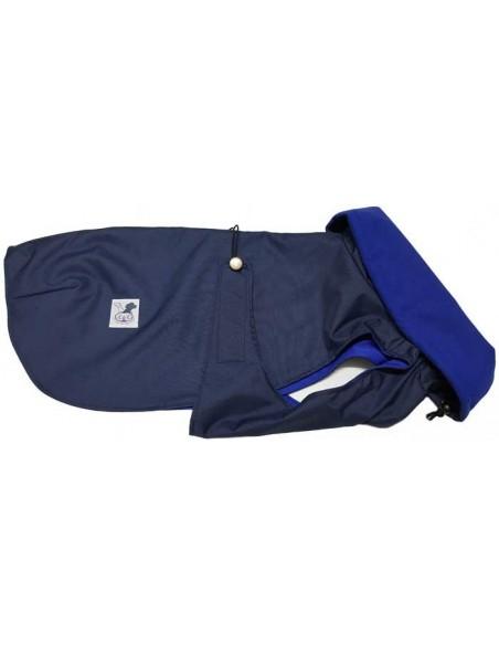 Abrigo impermeable azul marino con forro polar para perro