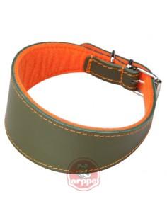 collar para galgo en piel forro naranja