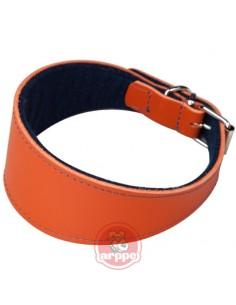 collar para galgo en piel naranja
