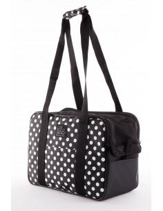 bolso para perro negro con topitos