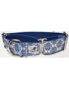 Collar para galgo en tela loneta muy resistente azul con dibujos