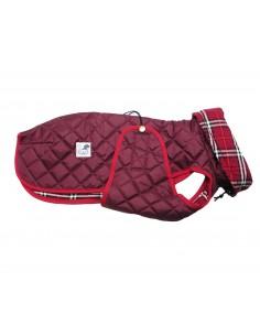 Ropa para perro - abrigo Impermeable Acolchado Galgo color granate