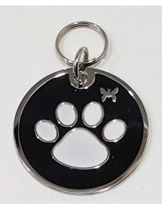 chapa redonda identificativa con huella de perro