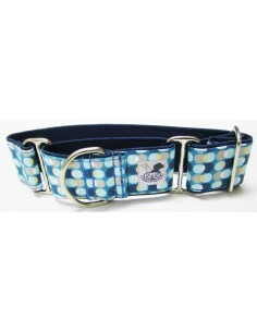 collar galgo circulos azul