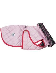 abrigo impermeable rosa para perro