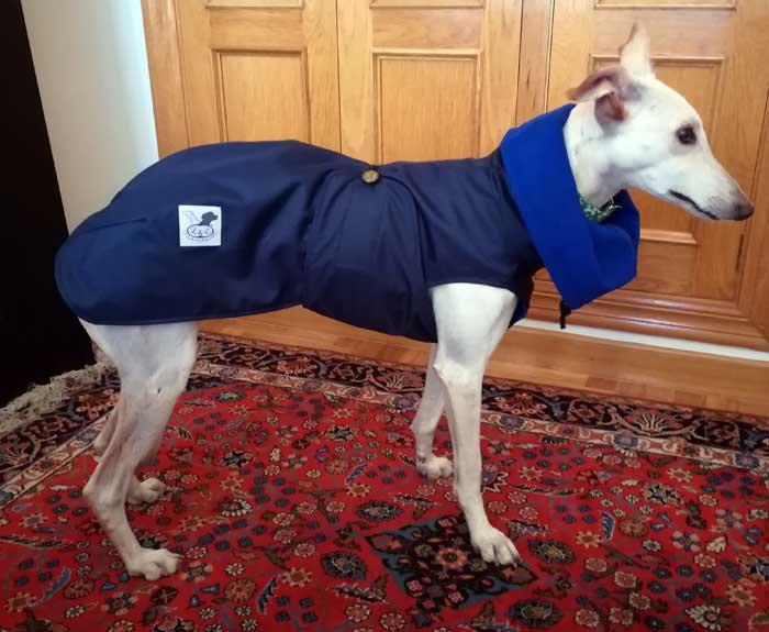 abrigo acolchado galgo azul